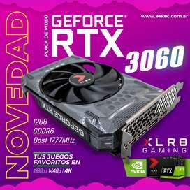 PLACA DE VIDEO PNY GeForce RTX 3060 12GB XLR8 Gaming REVEL EPIC-X RGB. EDICIÓN DE VENTILADOR ÚNICO. LHR