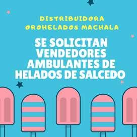 SE SOLICITAN VENDEDORES DE HELADOS SALCEDO AMBULANTES