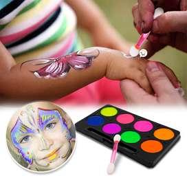Kit Pinta Caritas Maquillaje Halloween Fiestas 8 Colores Paint Face
