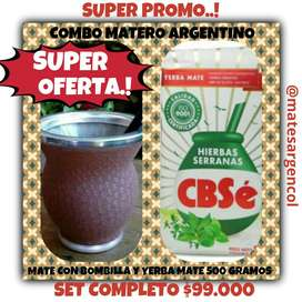 SUPER OFERTA! MATE ARGENTINO VIDRIO c\ BOMBILLA y YERBA MATE 500 GRAMOS !