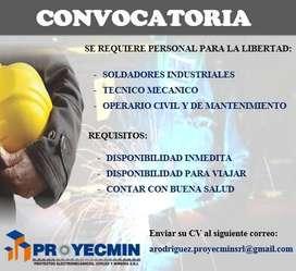 CONVOCATORIA PERSONAL: SOLDADOR  INDUSTRIAL Y OPERARIOS PARA TRABAJOS EN CASA GRANDE Y CARTAVIO