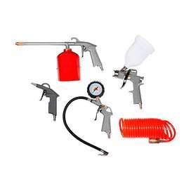 Kit Aire Comprimido 5 Piezas Compresor Pistola Para Pintar