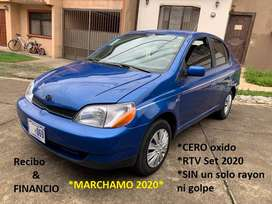 Toyota ECHO Yaris 2001 Azul AUTOMATICO Sedan Recibo y FINANCIO