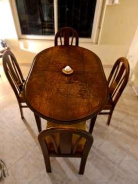 Mesa de madera con sillas extendible completa!