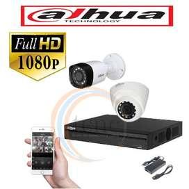 KIT DAHUA FULL HD DVR+2 CAMARAS 1080+FUENTES DE ALIMENTACION 12V