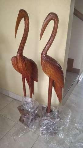 Par de garzas en madera