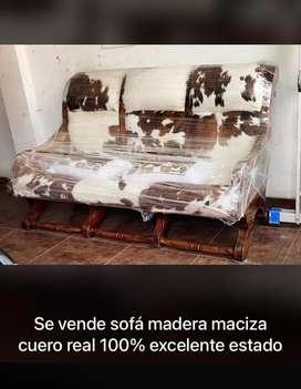 Sofa madera maciza piel 100% pura
