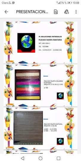 Venta palo de paleta sin color y con colores