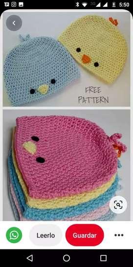 Gorros crochet con diseño