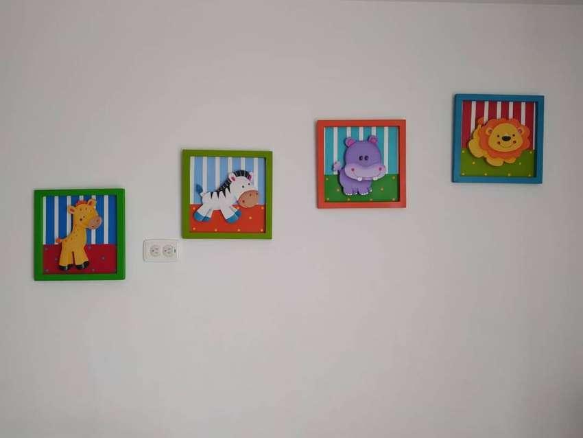 Cuadros (4) decorativos infantiles de animalitos en madera