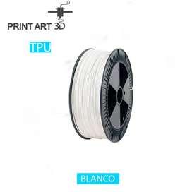 Filamento TPU (FLEXIBLE) 500 Gramos 1.75 mm   Blanco, Transparente. PREMIUM ALTA CALIDAD