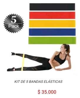 Kit de 5 bandas elasticas de resistencia banda elastica para ejercicio fitness