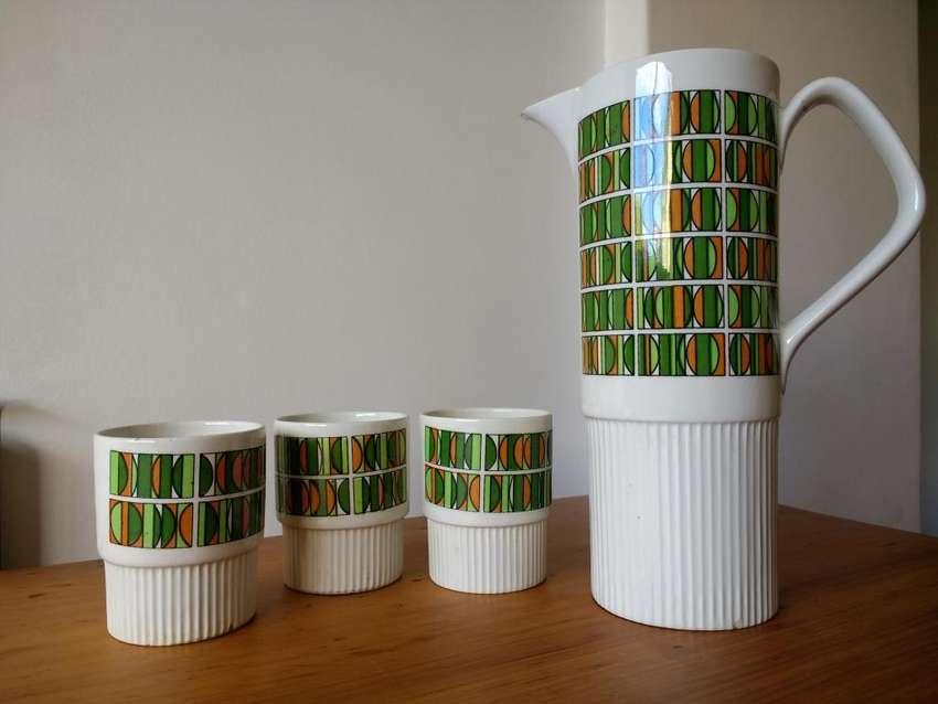 Vasos x3 uni y Jarra de cerámica deco '70s  Retro Vintage 0