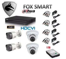 Kit 4 Camaras Dvr 4 Ch Dahua Hd Disco 1tb Fox Smart   precio Navideño