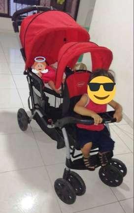 Coche gemelar unisex para niños de 0 a 5 años