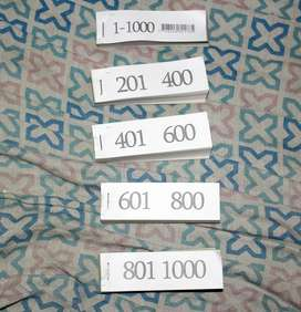 Talonarios De Numeros 11000 Rifa/Guardarropa/Control