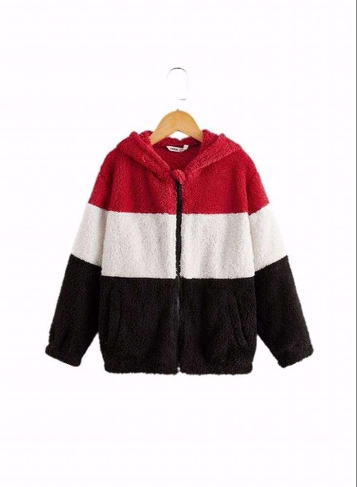 Chaqueta teddy con capucha color combinado con Envio Gratuito