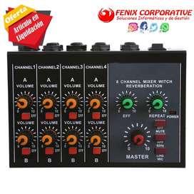 mezclador de Audio Karaoke mezcla de sonido con fuente de alimentación