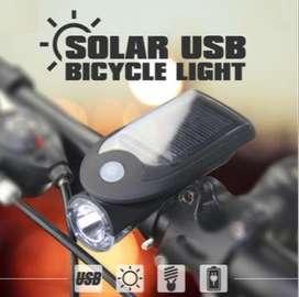 Faro delantero de bicicleta LED solar impermeable para ciclismo