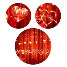 Instalación de luces led Cortina de Corazones Love
