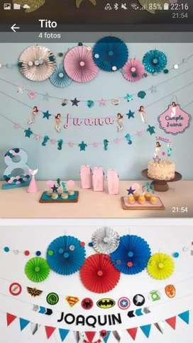 Decoracion para mesas de cumpleaños y candy bar
