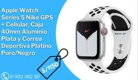 Apple Watch Series 5 Nike GPS + Cellular, Caja 40mm Aluminio Plata y Correa Deportiva Platino
