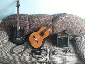 Guitarra electrica Ibanez + Criolla + Ampli + Distorsionador