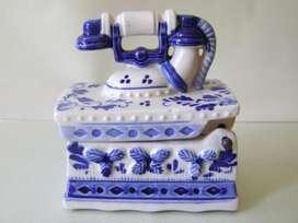 Antiguo Alhajero Teléfono Porcelana Delft Holanda / Maxim Nord