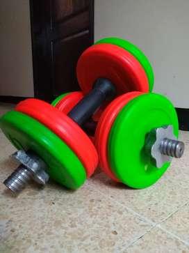 Kit de barra con discos encauchetados de colores , mancuernas armables con manilar encauchetado