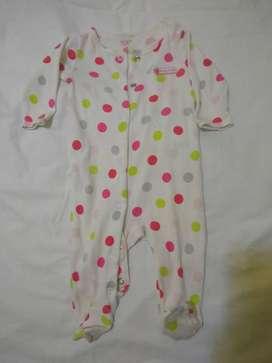 pijama carters 3m  pañalero con pie lunares de colores nena