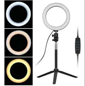 Aro de Luz Led 20 cm + trípode + bluetooth + soporte de celular, luz blanca, luz suave, luz cálida ENVIO GRATIS