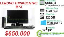 COMPUTADOR LENOVO M73 COREI3 CUARTA GENERACION  RAM 4GB DISCO DURO 320GB