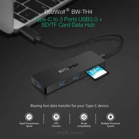 Tipo-C a tarjeta SD / TF USB3.0 Hub BlitzWolf