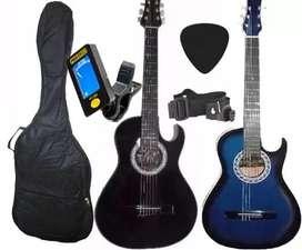 Guitarra Acustica Afinador Electrónico Forro Púa Cuadernillo