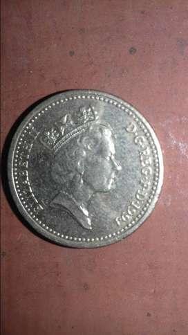 Moneda de 1 libra esterlina 1994.