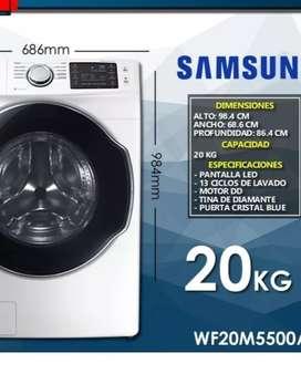 Lavadora Samsung, carga frontal capacidad de 20 kilogramos