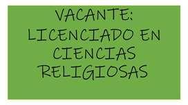 Se solicita licenciado  en ciencias religiosas