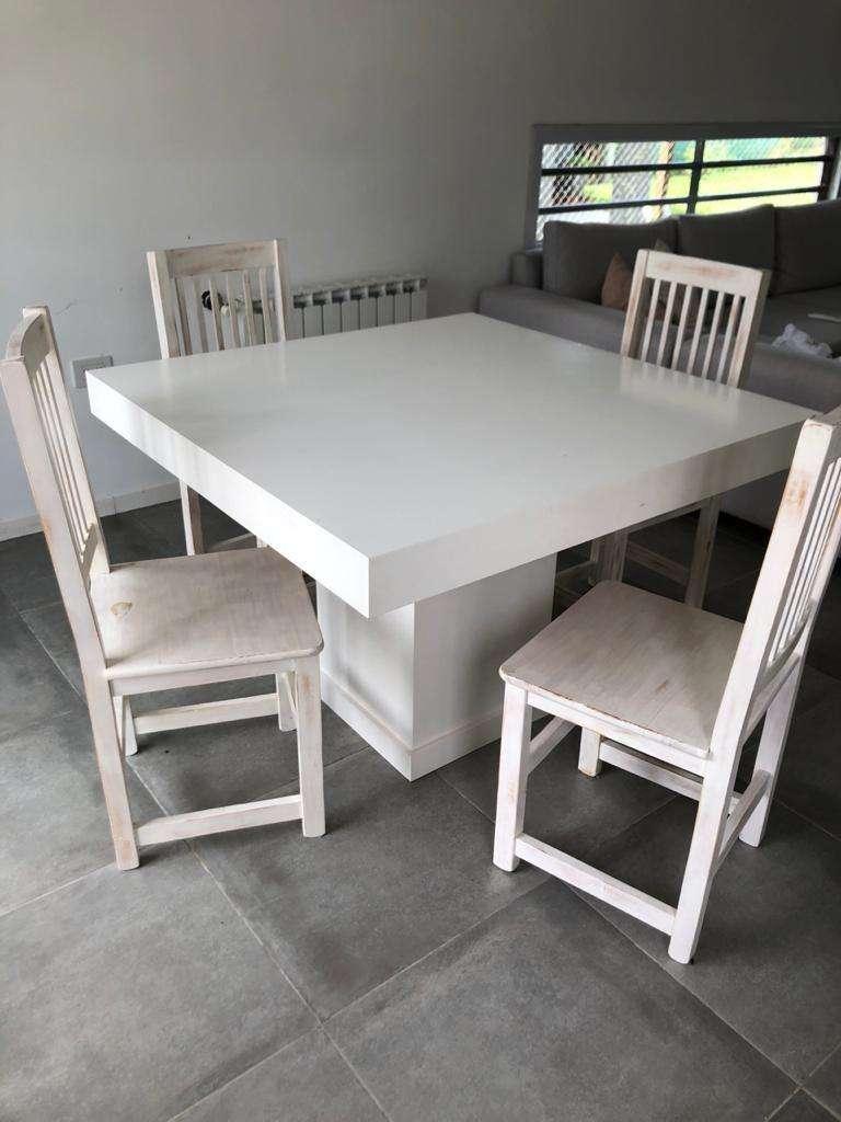 Juego de Mesa cuadrada con 4 sillas blanco laqueado 0