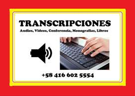 TRANSCRIPCIÓN de Audios, Conferencias, Seminarios