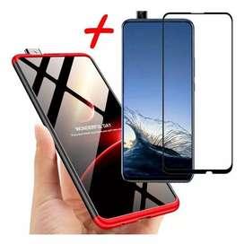 Estuche 360 de lujo Huawei Y9 Prime + vidrio 9d