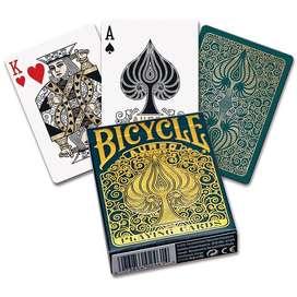 Cartas Bicycle Aureo Leonardo Davinci Original Dorado Verde