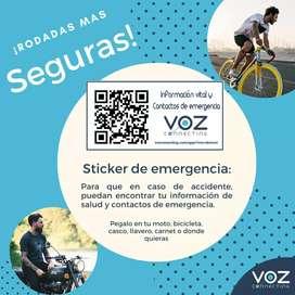 2 Stickers de Identificación y Emergencia con código QR. - Cascos, motociclistas, ciclistas.
