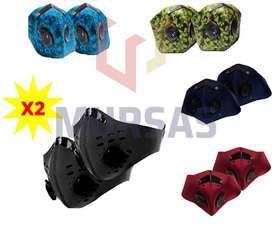 Combo x 2 Máscara Antifluidos Lavable Ajustable