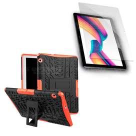 Kit Vidrio Cristal templado y Estuche Case Forro Funda Protector TPU antigolpes con soporte tablet Huawei T3-10