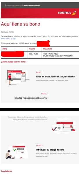 Vendo un bono para una o mas personas para viajar con Iberia