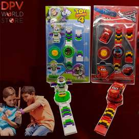 Reloj Lego Niños 2 Piezas Spiderman Car Lol Frozen Toy Story