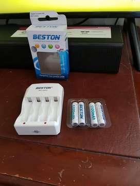 Cargador + pilas USB Beston BTS-C804U AA X 4