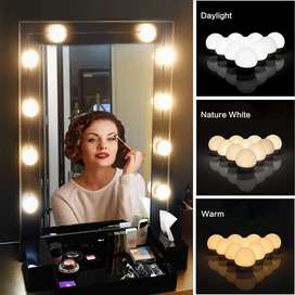 Luz led espejo hollywood 3 tonos 10 bombillos kit dimerizable decoración salon belleza