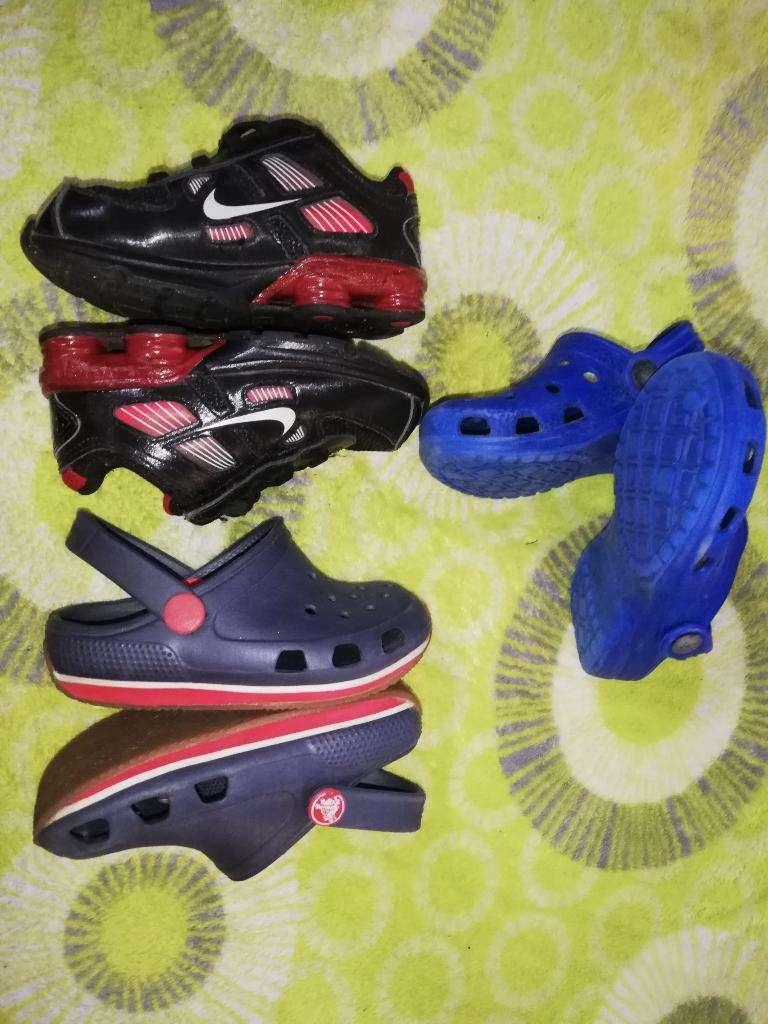 Zapatillas Nike Y Crocs Talla 25 0