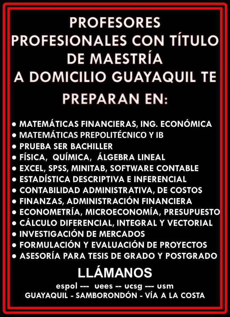PROFESORES CLASES A DOMICILIO ESTADÍSTICA, ECONOMETRÍA, FÍSICA, QUÍMICA MATEMÁTICAS FINANZAS CONTABILIDAD R STUDIO EXCEL 0